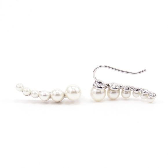 749158b594fd8 MonaBella Jewelry | Pearl Ear Climbers Silver Bar Earrings Crawlers ...